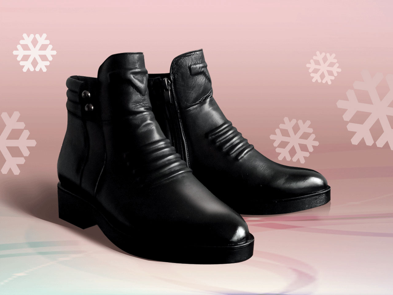Winter leather shoes for men
